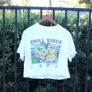 Brandy Melville 'Chill Since' Cropped T Shirt